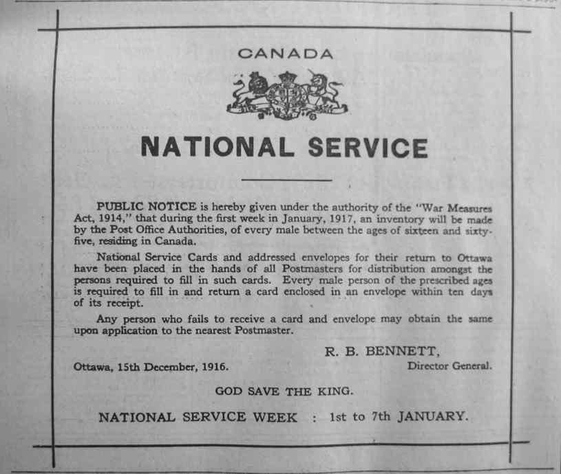 canadian conscription ww1 essay
